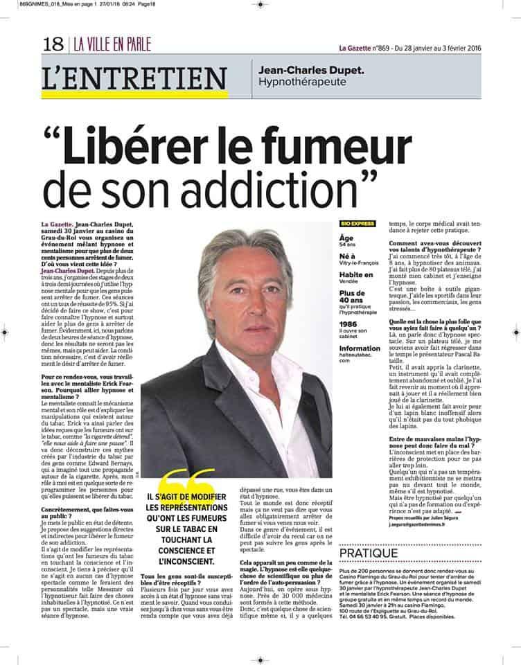 """Journal La gazette """"Libérer le fumeur de son addiction"""" avec Jean-charles Dupet"""